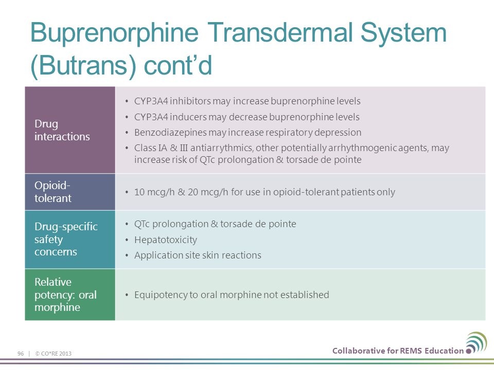Buprenorphine Transdermal System (Butrans) cont'd