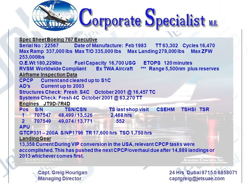 Spec Sheet Boeing 767 Executive