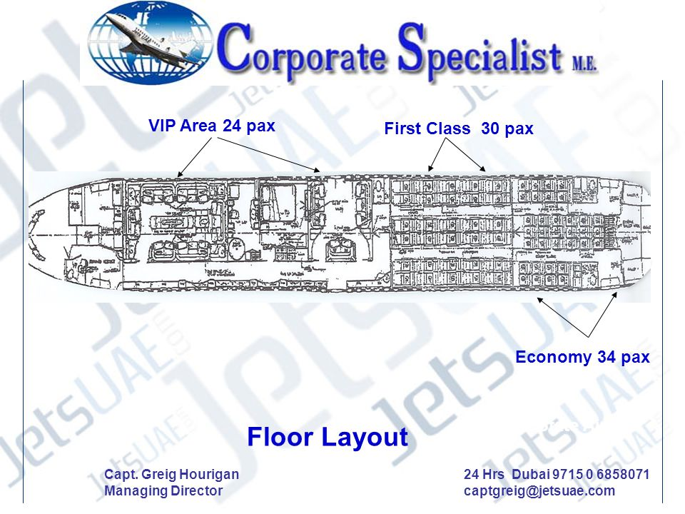 Floor Layout VIP Area 24 pax First Class 30 pax Economy 34 pax