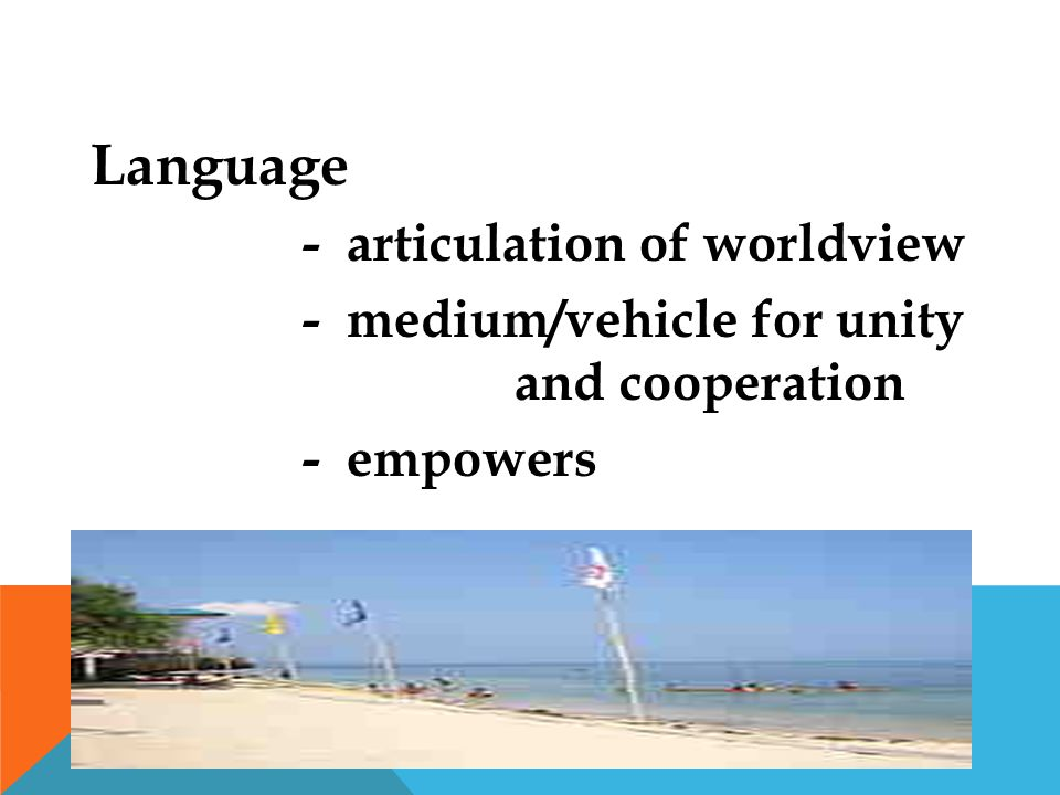 Language - articulation of worldview