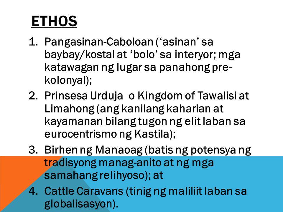 ethos Pangasinan-Caboloan ('asinan' sa baybay/kostal at 'bolo' sa interyor; mga katawagan ng lugar sa panahong pre- kolonyal);