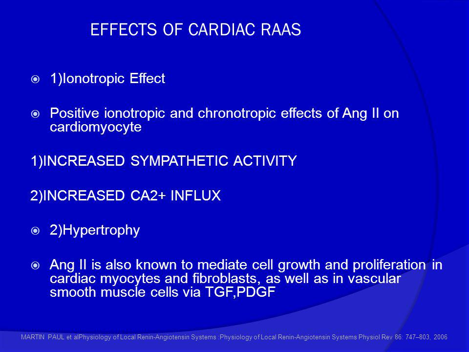EFFECTS OF CARDIAC RAAS