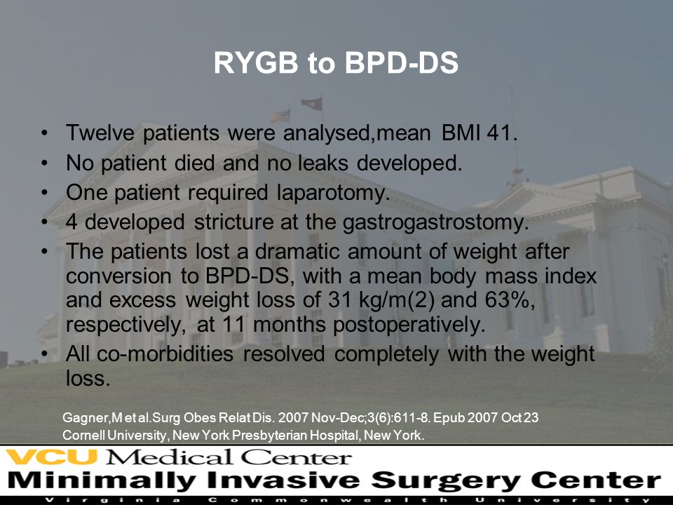 RYGB to BPD-DS Twelve patients were analysed,mean BMI 41.