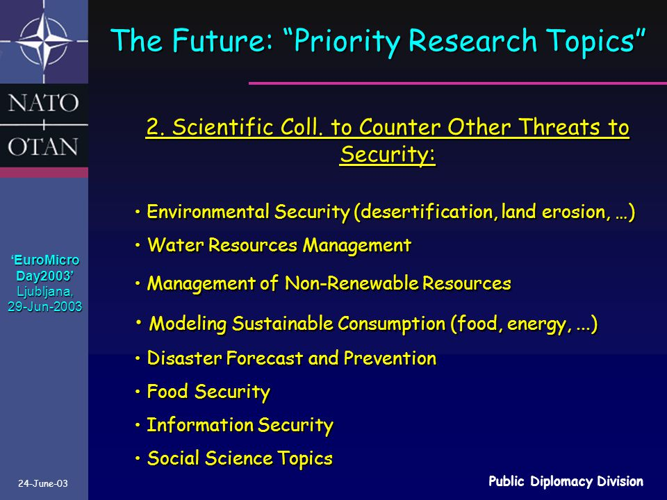 The Future: Priority Research Topics