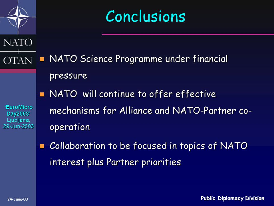 Conclusions NATO Science Programme under financial pressure