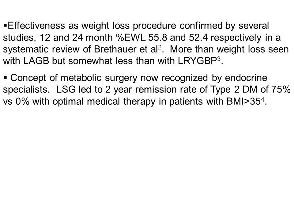 Effectiveness as weight loss procedure confirmed by several studies, 12 and 24 month %EWL 55.8 and 52.4 respectively in a systematic review of Brethauer et al2. More than weight loss seen with LAGB but somewhat less than with LRYGBP3.