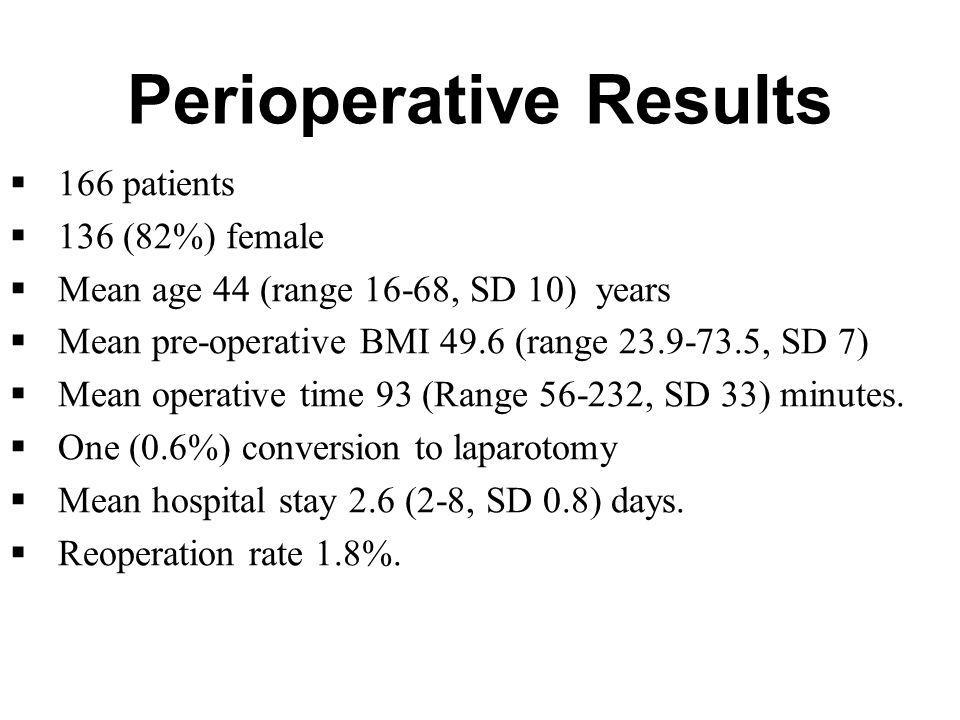 Perioperative Results
