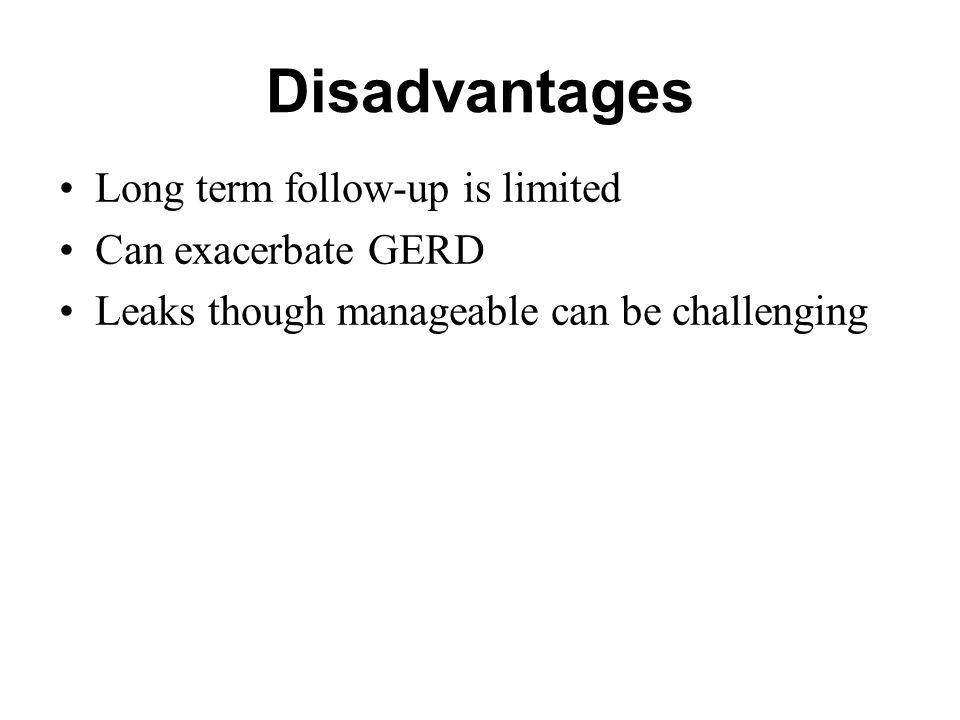 Disadvantages Long term follow-up is limited Can exacerbate GERD