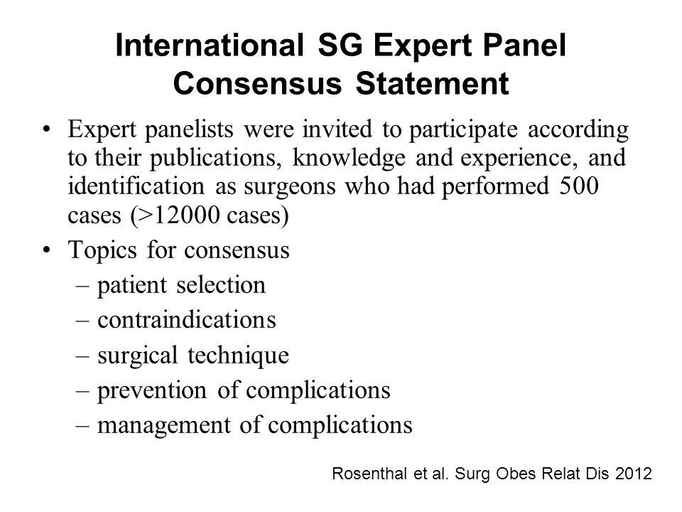 International SG Expert Panel Consensus Statement