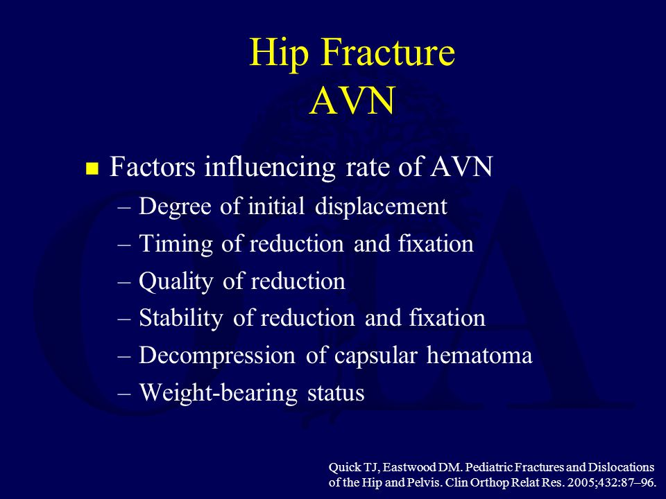 Hip Fracture AVN Factors influencing rate of AVN