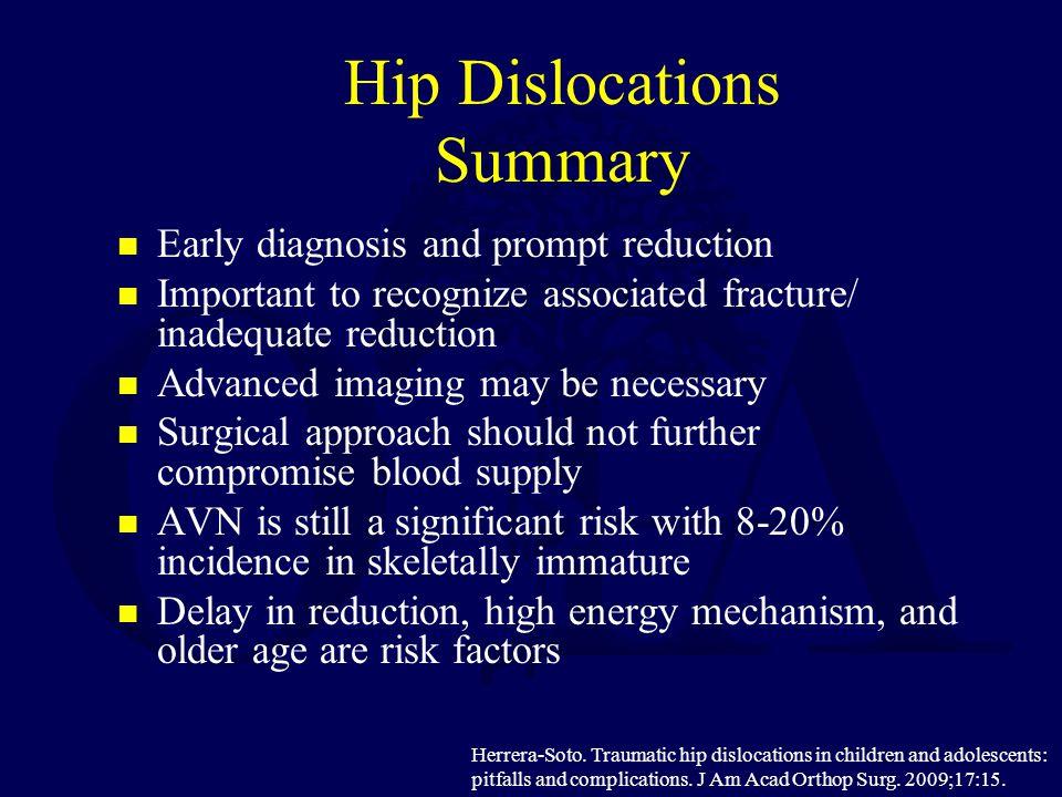 Hip Dislocations Summary