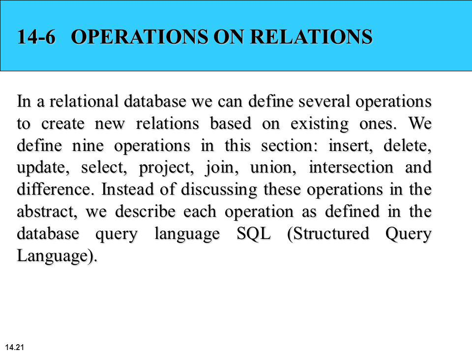 14-6 OPERATIONS ON RELATIONS