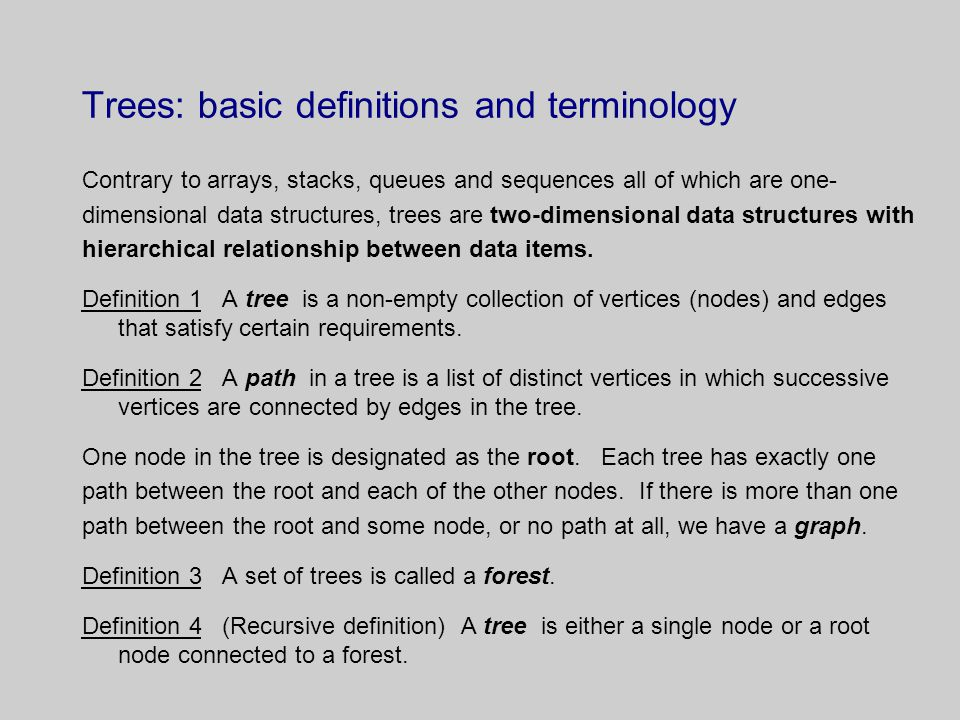 Trees: basic definitions and terminology