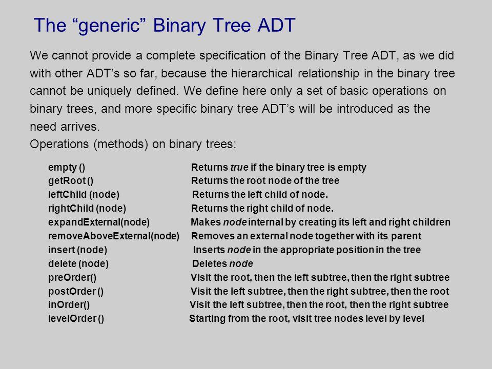 The generic Binary Tree ADT