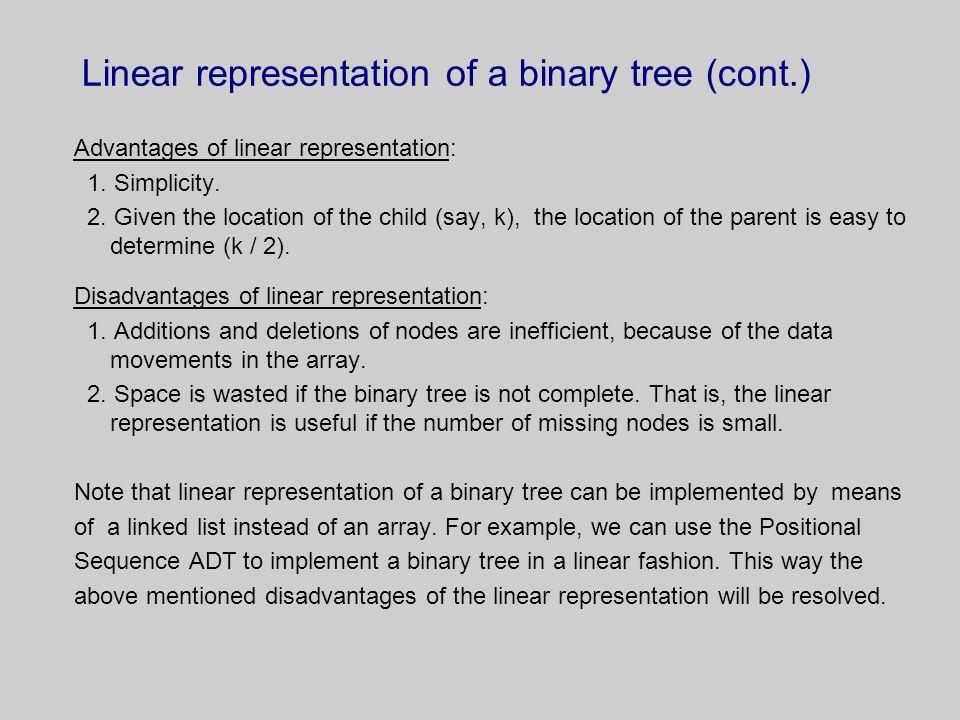 Linear representation of a binary tree (cont.)