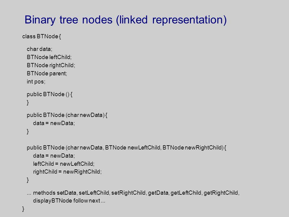 Binary tree nodes (linked representation)