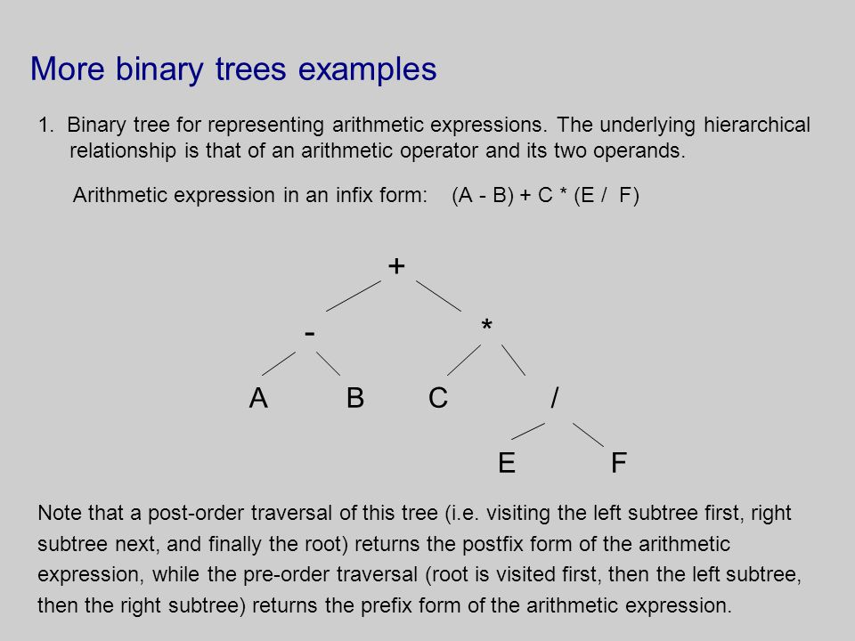 More binary trees examples