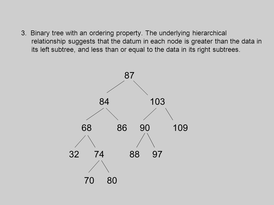 3. Binary tree with an ordering property