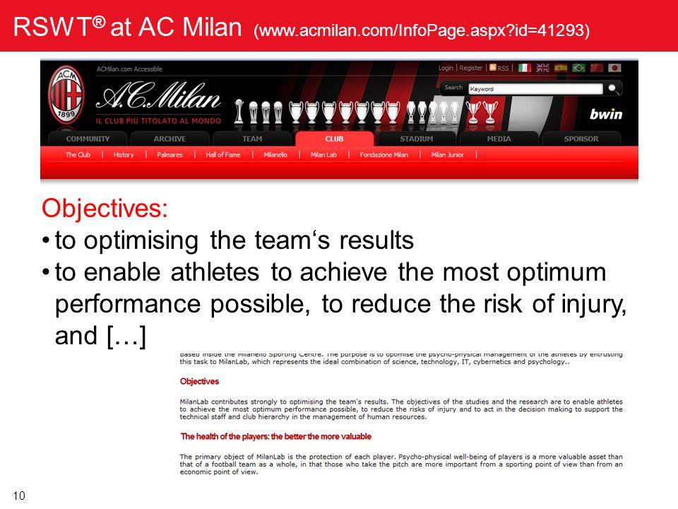 RSWT® at AC Milan (www.acmilan.com/InfoPage.aspx id=41293)