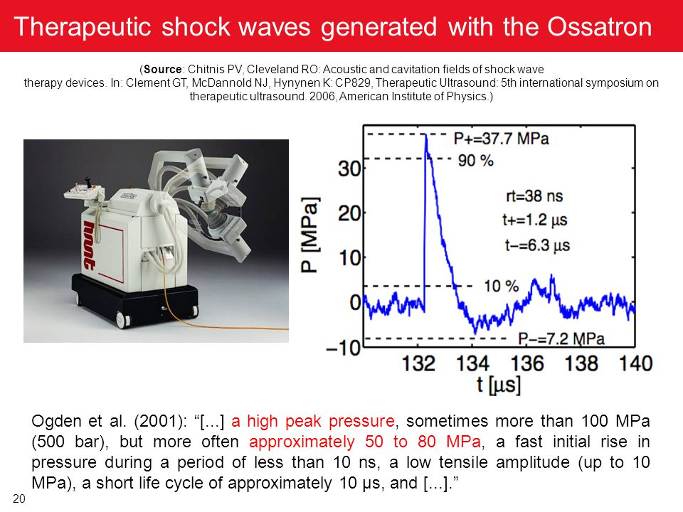 Therapeutic shock waves generated with the Ossatron