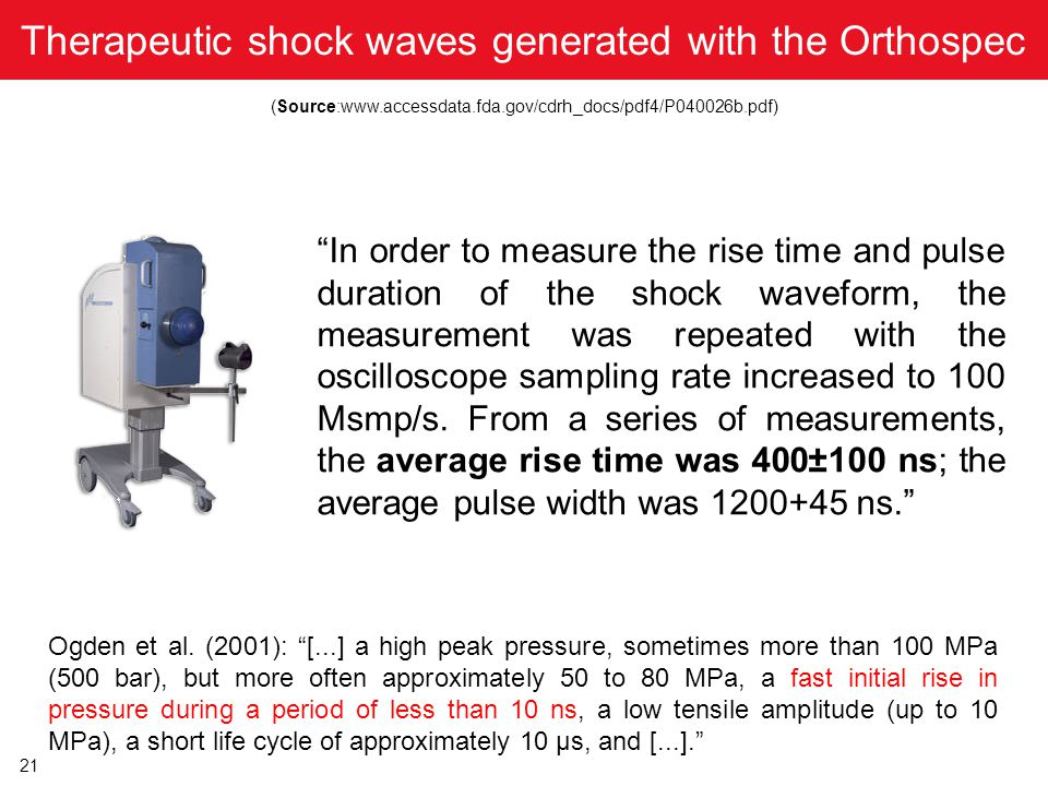 Therapeutic shock waves generated with the Orthospec