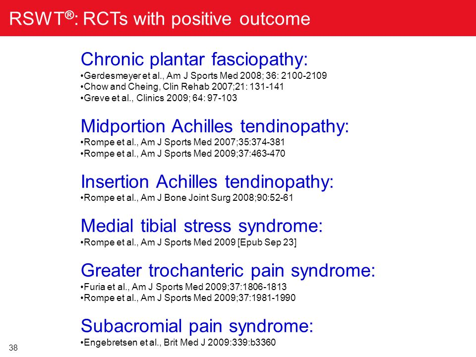 RSWT®: RCTs with positive outcome