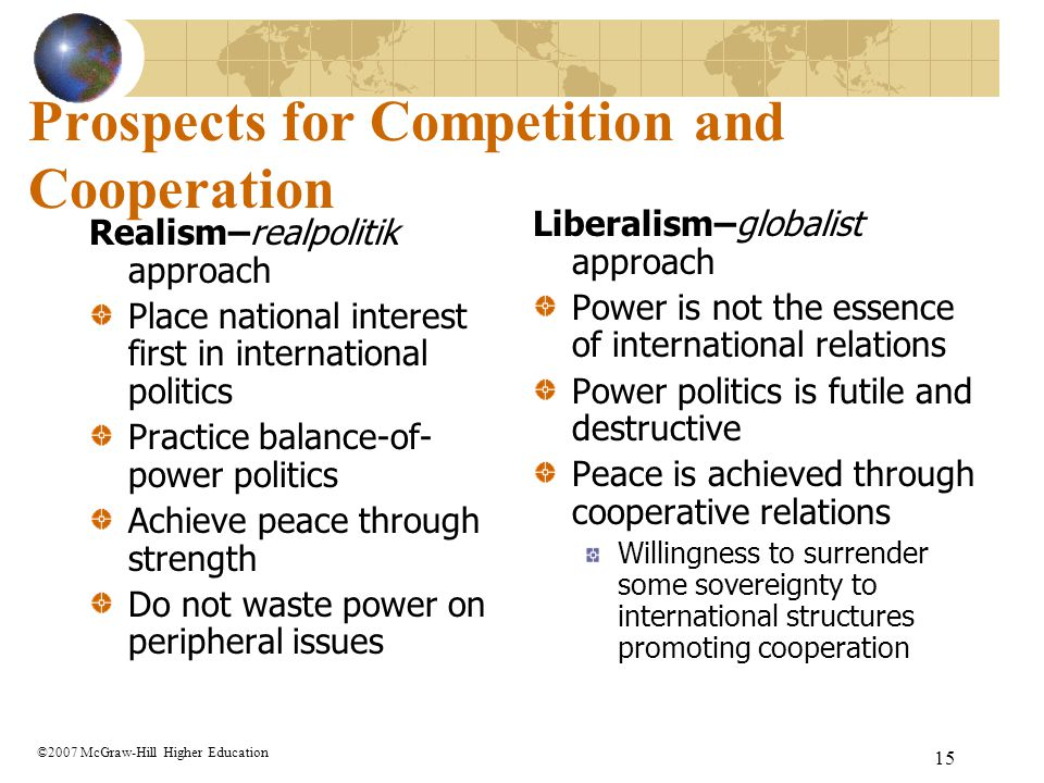 Prospects for Competition and Cooperation