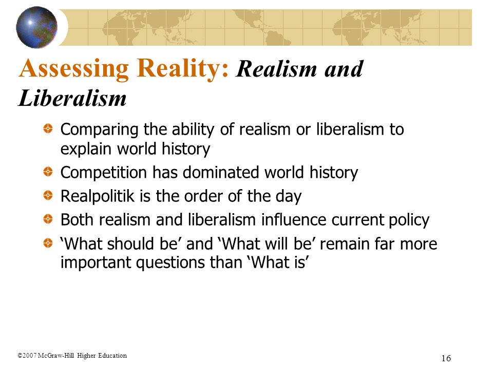 Assessing Reality: Realism and Liberalism