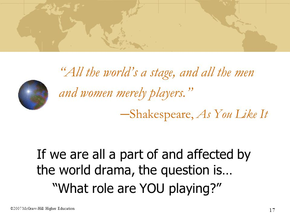 All the world's a stage, and all the men and women merely players