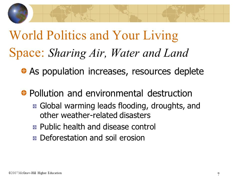 World Politics and Your Living Space: Sharing Air, Water and Land