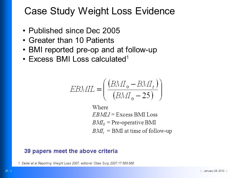 Case Study Weight Loss Evidence