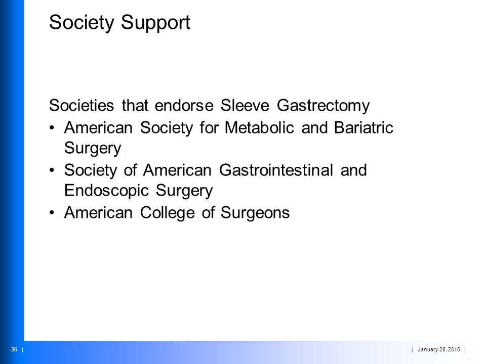 Society Support Societies that endorse Sleeve Gastrectomy