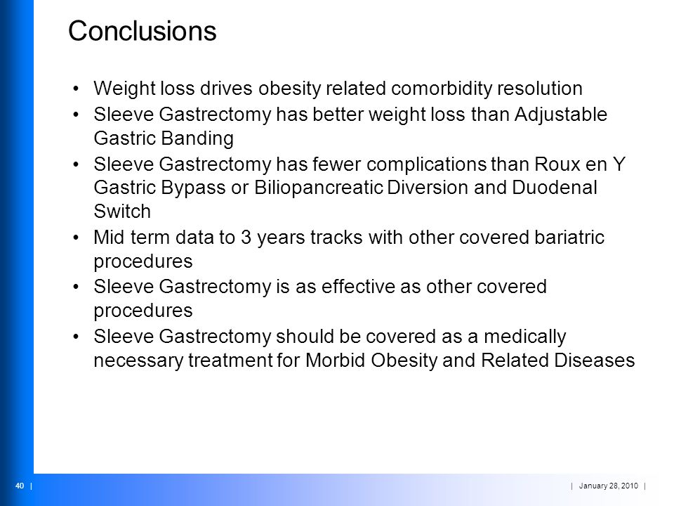 Conclusions Weight loss drives obesity related comorbidity resolution