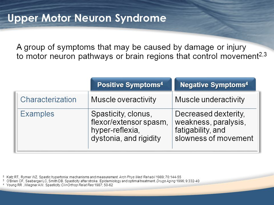 Upper motor neuron syndrome symptoms for Motor neurone disease signs and symptoms
