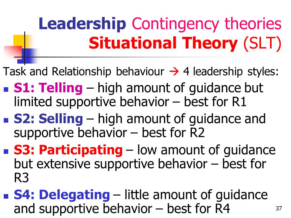 Leadership Contingency theories Situational Theory (SLT)