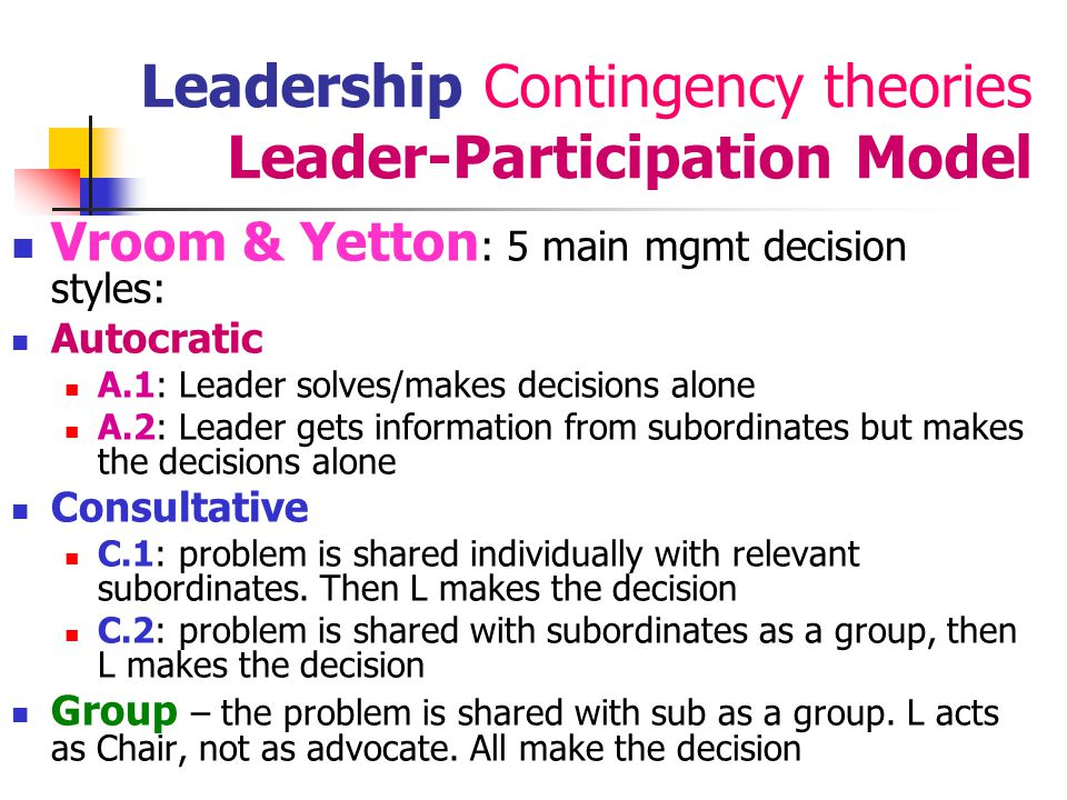 Leadership Contingency theories Leader-Participation Model