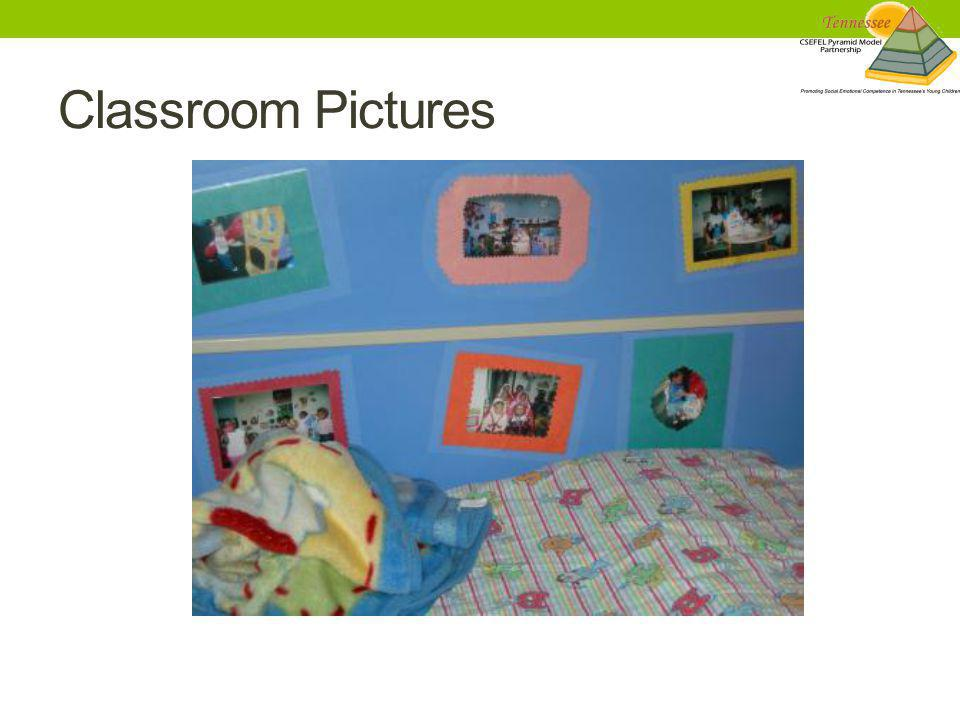 Classroom Pictures This is a naptime area is decorated with pictures of fun activities that have been done in the classroom throughout the year.
