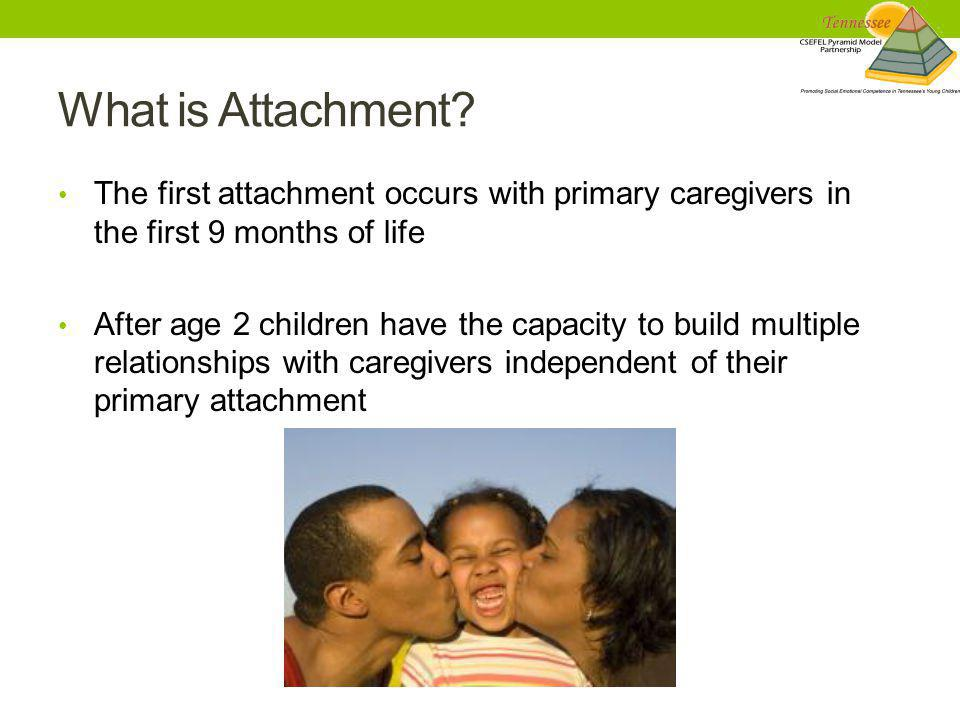 What is Attachment The first attachment occurs with primary caregivers in the first 9 months of life.