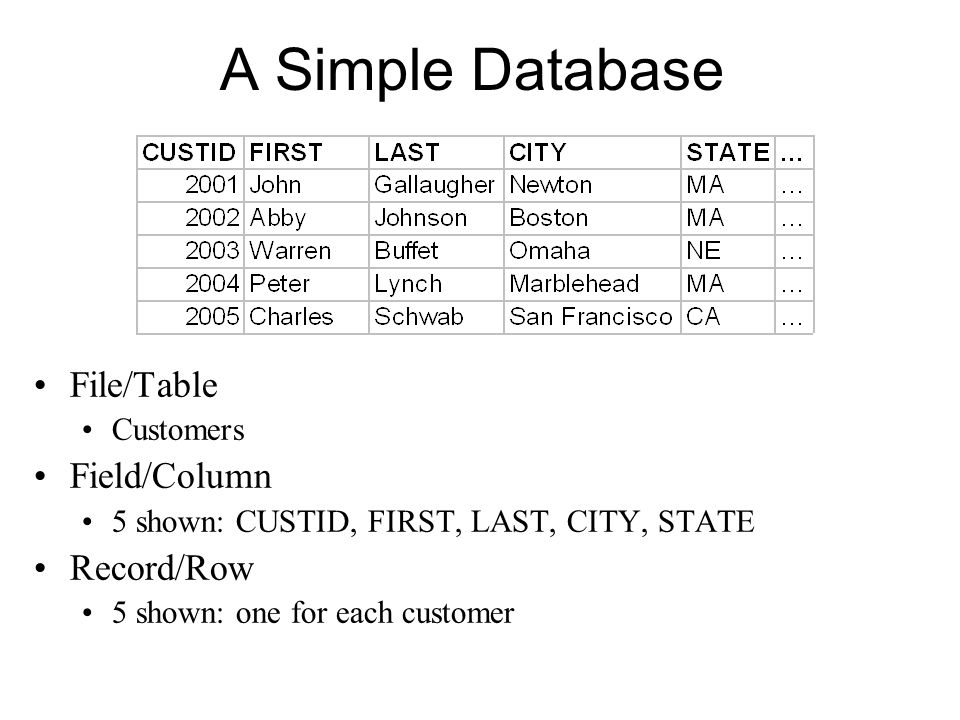 A Simple Database File/Table Field/Column Record/Row Customers
