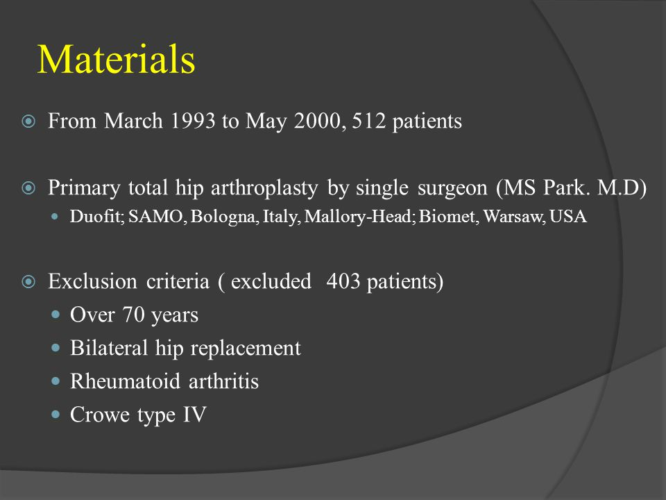 Materials From March 1993 to May 2000, 512 patients