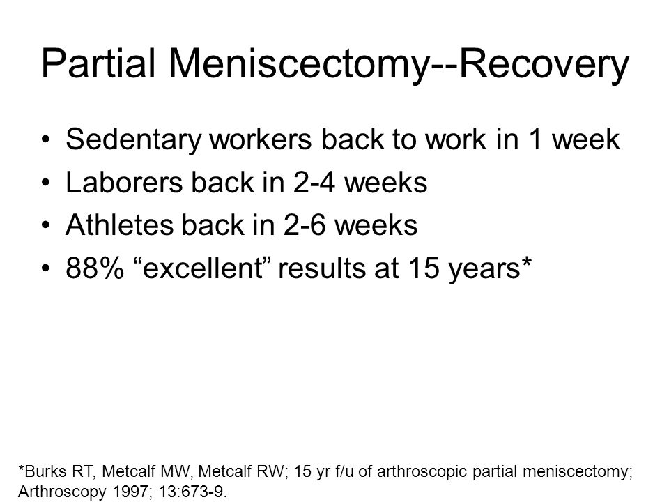 Partial Meniscectomy--Recovery