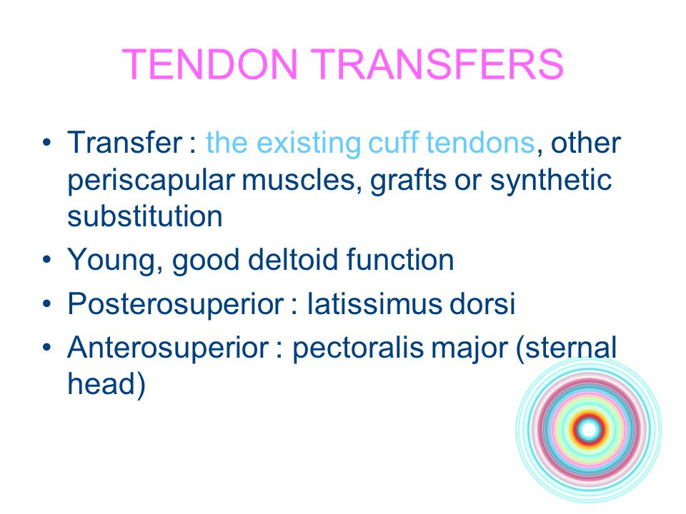 TENDON TRANSFERS Transfer : the existing cuff tendons, other periscapular muscles, grafts or synthetic substitution.