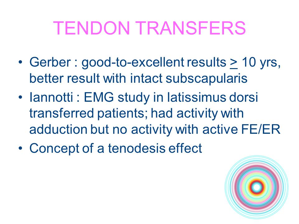 TENDON TRANSFERS Gerber : good-to-excellent results > 10 yrs, better result with intact subscapularis.