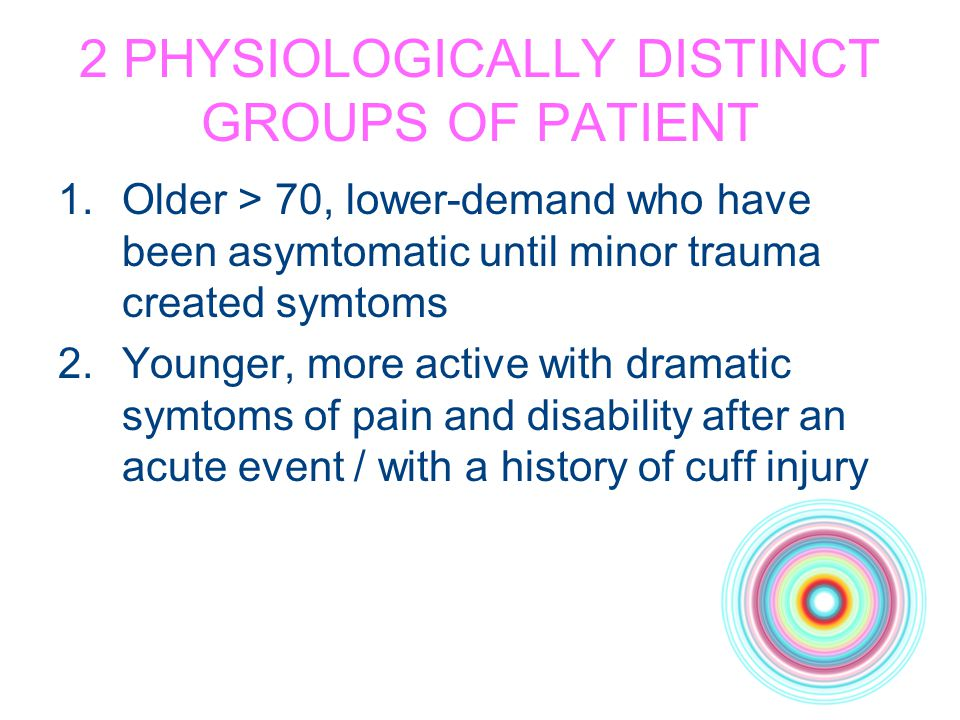 2 PHYSIOLOGICALLY DISTINCT GROUPS OF PATIENT