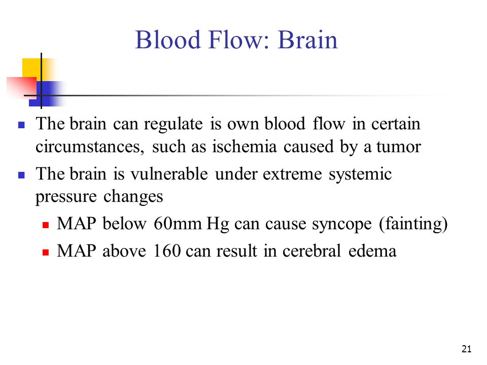 Blood Flow: Brain The brain can regulate is own blood flow in certain circumstances, such as ischemia caused by a tumor.