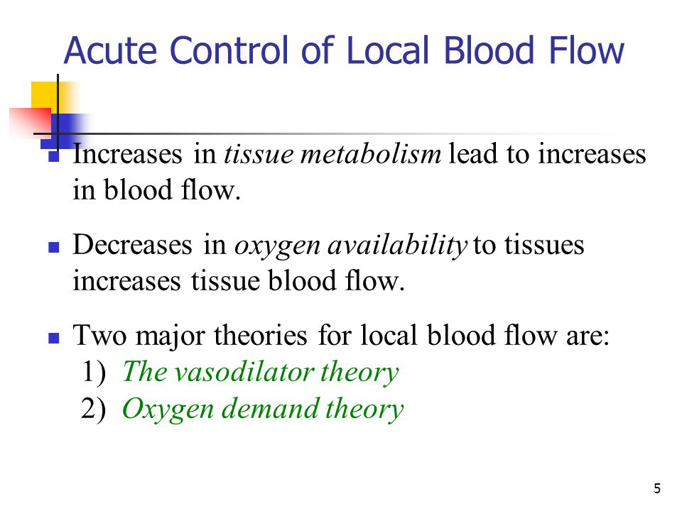 Acute Control of Local Blood Flow