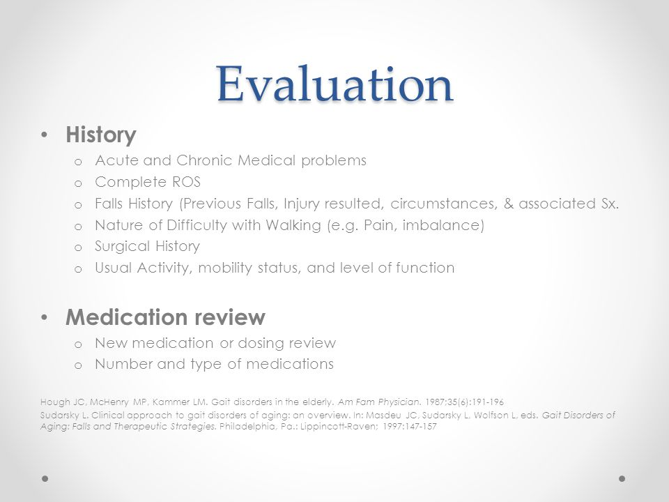 Evaluation History Medication review