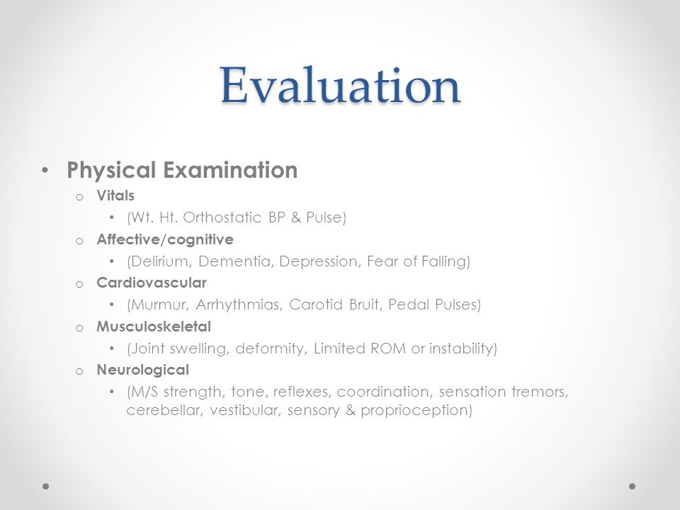 Evaluation Physical Examination Vitals