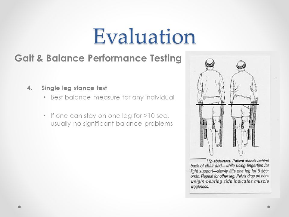 Evaluation Gait & Balance Performance Testing Single leg stance test