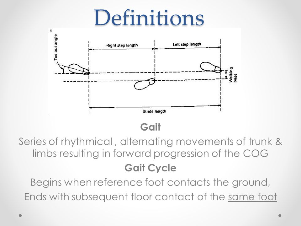 Definitions Gait. Series of rhythmical , alternating movements of trunk & limbs resulting in forward progression of the COG.